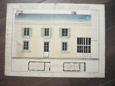GRAND DESSIN D'ARCHITECTURE 1860 EXTERNAT SAINT NICOLAS SIGNE GEORGES LELY