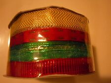 Holiday Christmas Gift Wrap Spritz Fabric Ribbon 4 End X 40 Ft Red Green Gold
