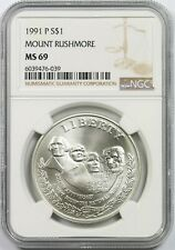 1991-P Mount Rushmore $1 NGC MS 69 Modern Commemorative Silver Dollar