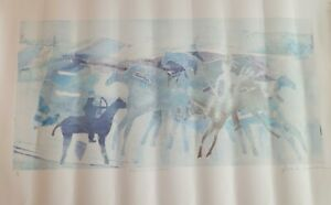 "Jack Eggman ORIGINAL Monotype ? Legend of ""Crazy Horse"" Signed Art 36"" x 18"""