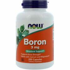 Now Foods Boron 3 mg 250 Caps, Bone Strength Calcium Magnesium Supplement
