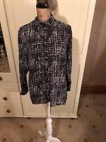 MISSGUIDED Ladies Black White Long Sleeve Chiffon Boho Blouse Shirt Size 10