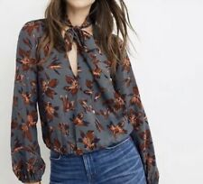 NWT Madewell Silk Tie-Neck Wrap Winter Orchid Top Size XXS