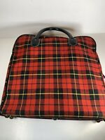 Vintage J C Higgins Picnic Set Quart Vacuum Bottles Thermos Lunchbox Red Plaid