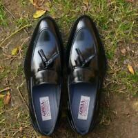 Men Slip Ons Formal Party Loafers Handmade Italian Calf Leather Black Shoes