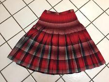"SPORTRITE Reversible 40-50s Vintage Red Black Plaid Pleated Wool Skirt 28"" Waist"