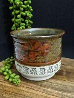 Vintage Pottery Glazed Teabag Holder Handmade Leaf Rustic Plant Trinket Dish