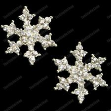 CLIP ON glass CRYSTAL SNOWFLAKE EARRINGS silver rhinestone STUDS/CLIPS diamante