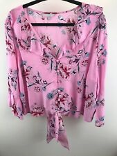 New Red Herring Pink Floral Tie Button Through Frill Detailing Blouse Size 18