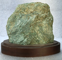 "4.5"" Fuchsite Raw Cluster Crystal Quartz Natural Stones W/ Wood Base"