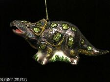 BLOWN GLASS~TRICERATOPS DINOSAUR CHRISTMAS ORNAMENT~GREEN~SPARKLES~NWT