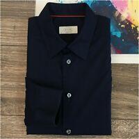 ETON Super Slim Men's Button Front Shirt Size 38 15 Navy Blue Long Sleeve