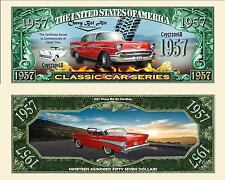 2 Notes 1957 Chevy Belair Classic Car Series Novelty Million Dollar Notes