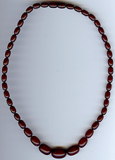 VINTAGE FATURAN AMBER BAKELITE GRADUATING SIZE BEADS NECKLACE