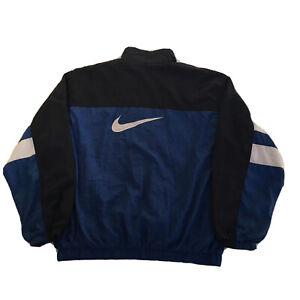Vintage 90s Nike Windbreaker Jacket Mens Large Full Zip Swoosh Blue White Black