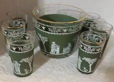 Vintage Jeanette HELLENIC Wedgwood Green Jasperware Ice Bucket With Juice Glass