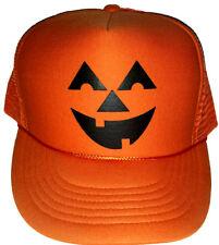 Pumpkin Head Halloween Costume Snapback Mesh Trucker Hat Cap Orange