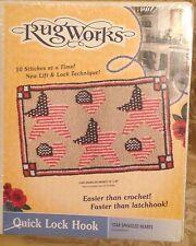 "Nib - Rugworks Vintage Quick Lock Hook Rug Kit - Star Spangled Hearts 16"" x 28"""