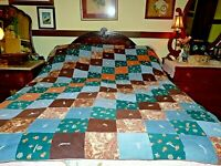 """VTG Handmade Quilt Coverlet Corduroy Tied Heavy Thick 60""""x70"""" Rustic Cabin Style"""