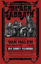 Black Sabbath/Van Halen 1978 Concert Poster, Erie County Fieldhouse, Erie PA