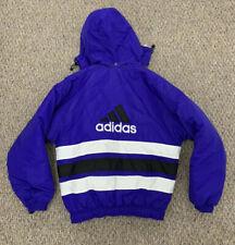 Vintage Adidas Spell Out Purple Puffer Jacket Winter Coat Mens Size Medium