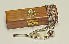 Bootsmannspfeife Messing mit Kette in schöner Holzbox mit Anleitung