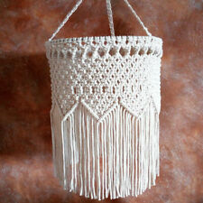 White Vintage Handmade Macrame Lampshade Hanging Ceiling Pendant Light Shade Art