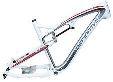 """NEW Definitive Full Carbon 49cm Frame 26"""" & Rear Shock Full Suspension White"""