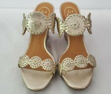 JACK ROGERS LUCCIA CORK WEDGE THONG SANDALS SHOES PLATINUM SIZE 9.5 NEW! $180