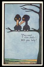 Cartoon birds WW1 They Want More Shells Tuck Oilette 8799 vintage PPC