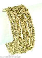 Chamak Sparkle Green & Champane Crystals Set of 7 Unique Metal Bangle Bracelets