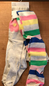 bnwt H&M GIRLS TIGHTS 2 PACK AGE 2-4 Years COTTON RICH NATURAL STRIPES FLOWER