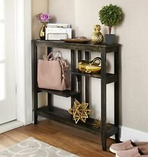 Brushed Metallic Console Table - Narrow Hallway Table with Display Shelves