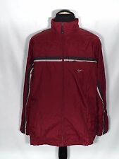 Nike Mens XL Maroon Burgandy Striped Full Zip Long Sleeve Rain Jacket - Damaged