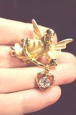 little flying Guardian Angel wings white rhinestone heart dangle tac pin brooch