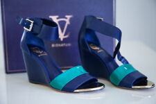 Vince Camuto Signature Platform Sandals dark navy blue jade green strap size 7M