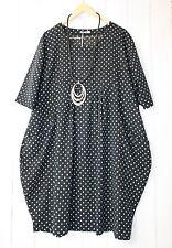 Moonshine Kleid Ballonkleid 48 50 52 Schwarz  Lagenlook Pünktchen Dots Neu