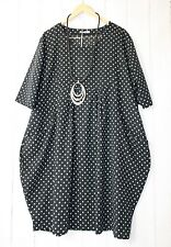 Moonshine Kleid Ballonkleid 48 50 52 Schwarz  Lagenlook Pünktchen Dots Sommer