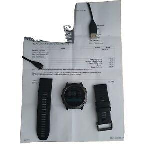 Garmin Fenix 6X Pro GPS-Laufuhr 51mm Gehäuse mit Silikonarmband - Schwarz/Schie…