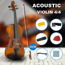 Full Size 4/4 Beginner Acoustic Violin Fiddle Case Strings Bow Rosin Pitch Guide