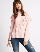 MARKS & SPENCER Limited Edition Ruffle Front High Neck Blouse BNWT
