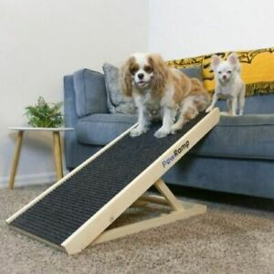 """Adjustable Pet Ramp 40"""" Dog Cat Stairs Folding Paw Ramp Wood Steps Couch Bed XL"""