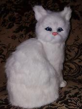 Katze Plüsch Deko Figur weiß Fell / Tierfigur Dekofigur wie echt edel blaue Auge