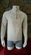 Men's GUESS Turtle Neck 1/4 Zip Up Sweater Beige Size L