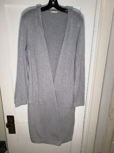 Eileen Fisher Organic Cotton Hooded Duster Cardigan Sweater Open Gray size M