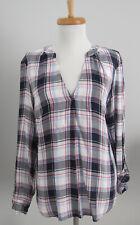 NYCo Soho Jeans black, pink, blue soft plaid mandarin collar hi-lo shirt