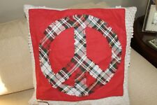 """NEW Pottery Barn Peace Plaid Applique Pillow Cover 18"""" Red"""