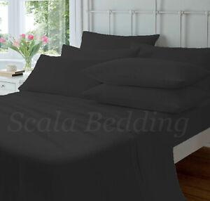 BLACK 4-PC SHEET SET ALL SIZE 800-TC 100% EGYPTIAN  COTTON SOLID BED SHEET SET