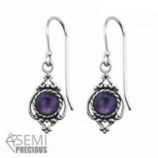 925 Sterling Silver Ornate with Amethyst Gemstone Drop/Dangle Earrings