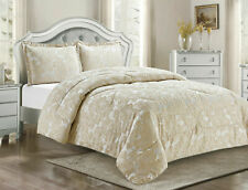 3 Pc QUILTED BEDSPREAD +PILLOW SHAM SET IN CREAM DOUBLE,KING,SUPER KING